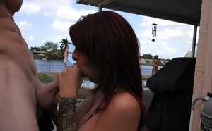 Chick has a rest day and also enjoys it together with fucker in a secluded place