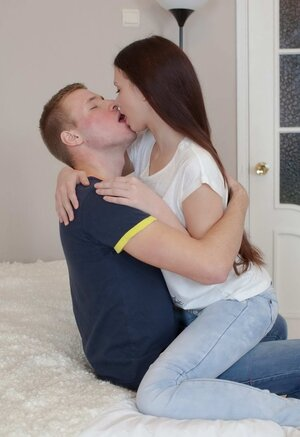 Horny young couple sneaks in bedroom to try anal sex for first time