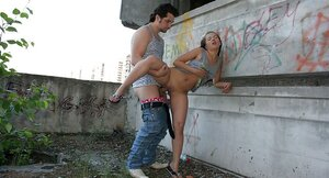 18-19 year old dollface sucked two dicks and fucked by one of them near abandoned building