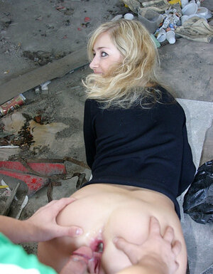 A couple of dudes picked up sinful blonde and plus nailed her in all holes in the dirty building