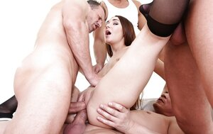 Adore with dark hair gives up and allows friends to double penetrate her