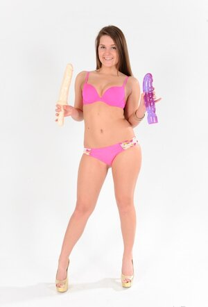 Nude babe will use two sizeable sex toys to give snatch genuine enjoyment