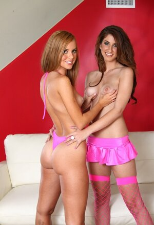 A pair of lesbians feel themselves even sluttier in pink underwear which inspires them