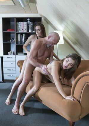 A pair of slutty Euro girlfriends tempt aged neighbor into spontaneous threeway