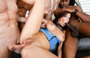Four white dudes and furthermore their black mate penetrate slutty cougar in completely all holes