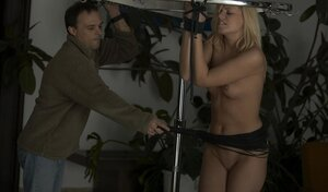 Blonde girl with tied up hands needs to give head if she wants to be free