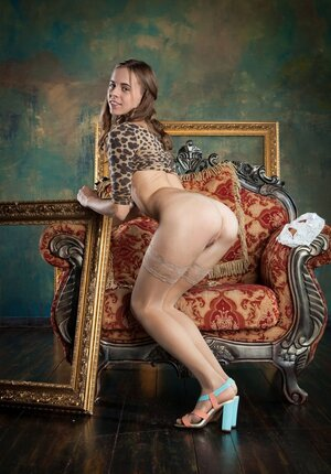 Chick in a leopard dress is just a desperate whore stripping naked for everybody