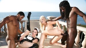 Blonde dame of the house and besides brunette maid got enjoyable interracial foursome