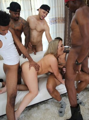 Sexy xxx star is caught by a ton of black lads who nail her collectively